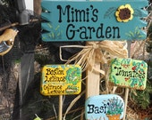 Mini Plant Markers Set 3 -set 3 mini plant markers + Smyardsign 85 - Mimi's Garden w sunflower