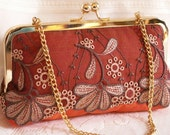 Handmade embroidered tulle, silk clutch handbag. Orange, brown, cream, gold. SINCERE clutch by Lella Rae on Etsy