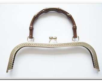 10.5 inch nickel sewing large purse frame with  purse handle (purse making supplies) purse supplies