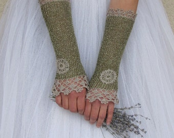 Bridal Lace Gloves, Green Wedding Gloves, Victorian Gloves, Fingerless Gloves, Crochet Gloves, Forest Linen Gloves, Womens Gift, NOSTALGIA