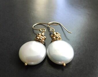 SALE 14k Gold Filled Earrings Jewelry Freshwater Pearl Earrings, Vermeil 22k Plated Gold Findings, Earrings, Accessories, Luxe Jewelry