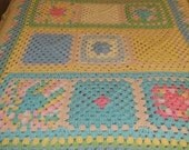 PRICE REDUCED!  Little Girls Easter Pastel Granny Square Bedcover/ Quilt / Bedspread