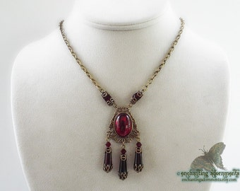 Countess Bathory - Aged Brass Gothic Necklace with Blood Red Glass Jewels Vampire, Witches Ball
