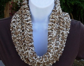 SUMMER COWL SCARF Caramel Tan Brown & Off White, Small Short Infinity Loop Crochet Knit Soft Lightweight Neck Warmer..Large Size Available