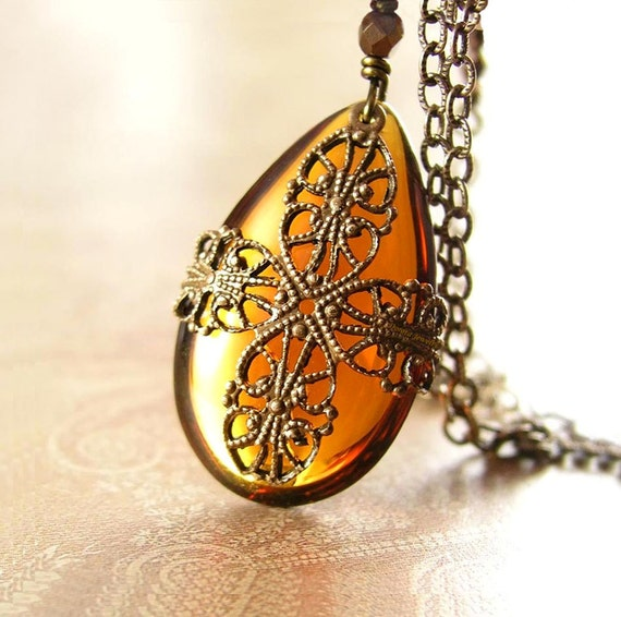 Crystal Amber Necklace Vintage Style Antique Gold Brass Topaz Amber Crystal Necklace Crystal Teardrop Amber Pendant Necklace