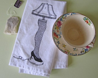 Cloth Napkins - Eco Friendly Dinner Napkins - Screen Printed Napkins - Cloth Napkin Set - Christmas Table Setting - Leg Lamp -  Napkins