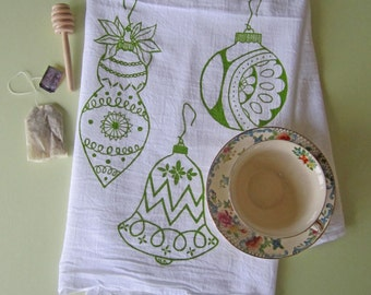 Tea Towel - Screen Printed Flour Sack Towel - Kitchen Towel - Christmas Ornaments - Flour Sack Towel - Holiday Decor - Christmas Tea Towel