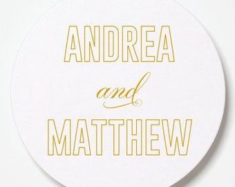 Modern Twist Foil Letterpressed Coasters - Set of 50 - for Weddings, Holidays, Parties and More by Abigail Christine Design