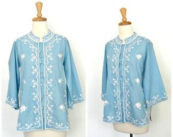 Vintage 60s Hippie Shirt - boho blouse - embroidered folk shirt  - blue cotton shirt - resort wear - festival - Medium