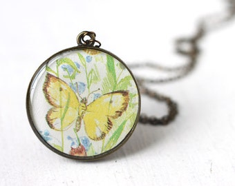 Yellow Butterfly Spring Fashion Vintage Art Pendant Necklace, Woodland Creature great for Spring Weddings