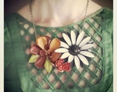 Floral Bib Statement Necklace, Vintage Flower Collage Necklace, Brown, Orange, Eco Friendly Jewelry for Women
