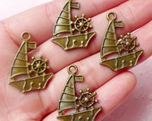 Sailing Boat Charms Sailboat Charms (4pcs) (20mm x 27mm / Antique Bronze) Pendant Bracelet Earrings Zipper Pulls Bookmark Keychains CHM581