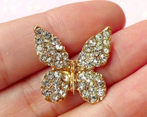 Rhinestone Butterfly Metal Cabochon (20mm x 20mm / Gold) Bling Bling Baby Hair Bow Center Hair Accessories Making Spring Scrapbooking CAB228