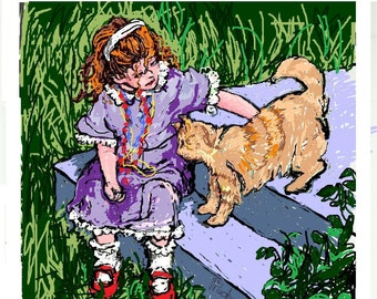 Little Girl and Cat Digital Painting ART PRINT, Stylized Art,Fine Art Paper,Handsigned,Childs Room Art,Colorful art by Patty Fleckenstein