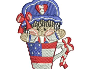 Patriotic embroidery design great for Memorial day or 4th of July