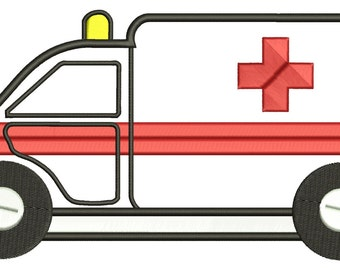 Ambulance Applique Machine Embroidery Design Emergency Vehicle Car INSTANT DOWNLOAD