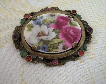 Sweet Romance Shelley Cooper Porcelain Flowered Brooch Pin
