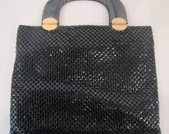 Vintage Black Metal Mesh Handbag with Tortoise Handles