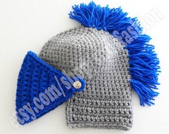 knight helmet cap Blue silver gray woolen acrylic beanie hat fan knight helmet cap halloween costume beanie