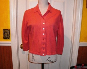 Vintage 1950s Salmon Pink Coral Cashmere Sweater - 3/4 Sleeve