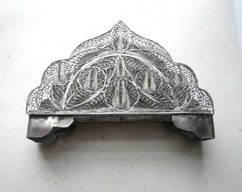Vintage Silver Filigree Letter Holder - Persian