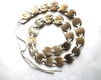 1970s Fun Blonde Fur and White Leather Medallion Belt