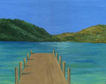 Dock -  Acrylic Seascape Painting