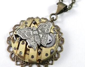 Steampunk Necklace, SALE Brass Clockwork Butterfly Watch Movement Brass Ruby Jewel Brass Lace Necklace