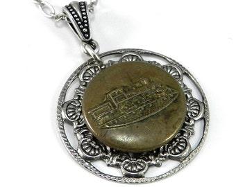Vintage Train Button Necklace, Antique Uniform Overall Button, Steam Engine, 1900-1910 Locomotive Button Necklace