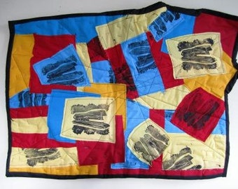 Wall Quilt Abstract Geekery Mixed Media Office Space Stapler - 29 x 20.5 Inches
