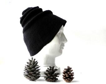 Felt hat, Black color merino wool, hat Felted hat warm woman felted accessory