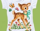 Deer Tshirt, Tank Kids Vintage Woodland Deer One Piece Baby Bodysuit, Tank or T-Shirt by ChiTownBoutique.etsy