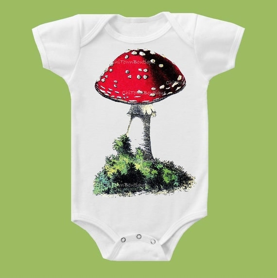 Red Cap Mushroom, Mushroom Shirt, Fungi, New Baby, woodland baby, One Piece Baby or T-shirt by ChiTownBoutique.etsy