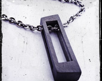 Black Cube Necklace Mens Pendant and Chain Jewelry from Carpe Diem