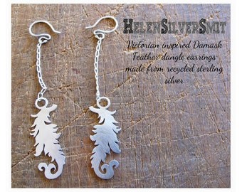 Dangle feathered Earrings Victorian Feather Damask silver Recycled eco Friendly Sterling Earrings Hand cut Feather long dangle boho Earrings