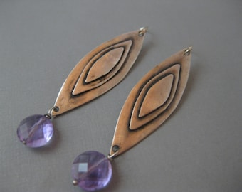 Long Geometric Sterling Silver Earrings with Pink Amethyst
