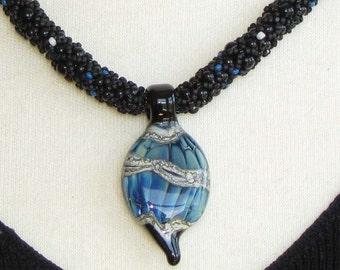 Blue and Black Lampwork Focal on Black Rope