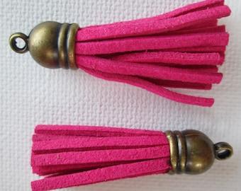 2PCS - Fringe Tassel with Antique Bronze Caps - 40mm - Suede - Hot Pink - T17