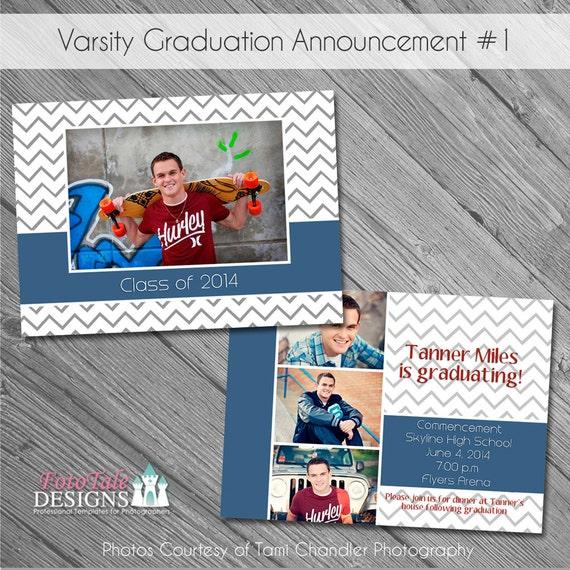 INSTANT Download - Varsity Graduation Announcement No. 1- custom photo templates on WHCC, Miller's Lab and ProDigitalPhotos Specs