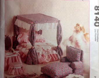 """Vintage Sewing Pattern Furniture for 11-1/2"""" Fashion Doll Sewing Pattern Barbie 1995 Chairs Sofa Table Canopy Bed Pillows Vanity"""