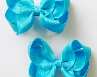 Toddler Girls Hair Bow Set Small Girls Childrens Kids Hair Clip Hairbows Hair Accessories (Set of 2) Choose Colors