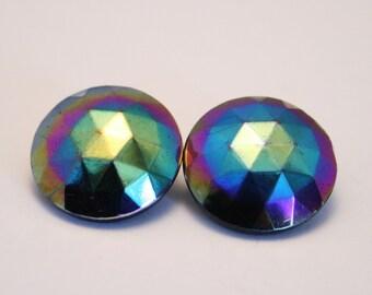 Vintage carnival glass earrings. Clip on
