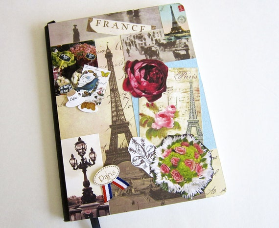 French School Book Cover ~ French journal collage decorated notebook blank
