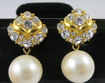 Vintage Pearl Rhinestone Earrings Gold Finish 15 mm Faux Pearl Dangle Clips Formal Wedding Bridal Pearls Evening