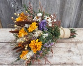 Autumn HARVEST Bridesmaid Dried Flower Bouquet - For a Rustic Country Wedding