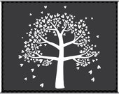 Digital Clip Art - The Family Tree - Four Branches - Instant Download - Heart Leaves