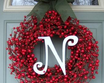 Christmas Wreath - Holiday Monogram Wreath - Red Berry Christmas Wreath