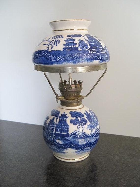 Vintage Blue Willow Mini Miniature Oil Lamp Porcelain China