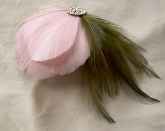 dusty rose and moss green fascinator with vintage rhinestone button