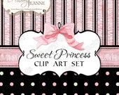 Princess Baby Girl, Digital Clip Art Kit, E14-29A, baby shower new baby clip art calligraphy scroll flourish bracket frame ribbon bow